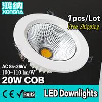 Free Shipping AC110-220V COB 20W LED Downlight Epistar Chip 100-110 lm/W Warm White/Cold White