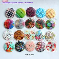 (mixed 20 items,100pcs/lot) mix buttons bulk wooden buttons bulk crafts scrapbooking gift decorations buttons  30MM-ZH07