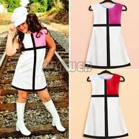 girls dresses summer Baby Girl Sleeveless Grid Color Splicing Dress party Birthday Gift Dress 5 sizes B16 SV003921