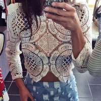 2014 New Fashion Women Casual shirt Long Sleeve Crop Top O-Neck Perspective Hollow Out Lace Blouse Top 2015 Summer b4