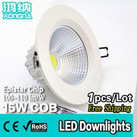 Free Shipping AC110V/220V 15W COB Super Bright LED Downlights for Shopping Mall/Market/Store/Hotel
