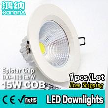 Free Shipping AC110V/220V 15W COB Super Bright LED Downlights for Shopping Mall/Market/Store/Hotel (China (Mainland))