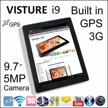 "5MP Camera 3G SIM Card Slot GPS VISTURE i9 9.7"" Tablet PC 4G 16GB MTK 6577 Dual Core 1.2G Android 4.0 Phone Call"