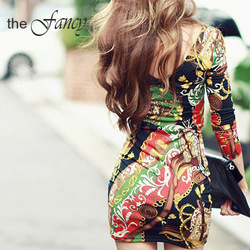 FREE SHIPPING Sexy Dress Print Floral women mini bodycon slim fit tight shealth Plus Size fashion tops club wear Summer cocktail(China (Mainland))
