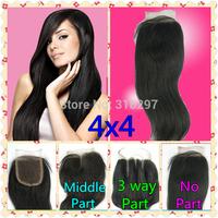 16% 3.5X4 6A Brazilian Virgin Hair Top Closure Straight 3 Way Part Middle Part Virgin Brazilian Hair Closure Lace Closure