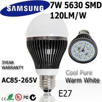 8pcs/lot   Samsung SMD 7w led light bulb lamp E27 85-265V110v 220v 240v dimmable+ indimmable 3year warranty