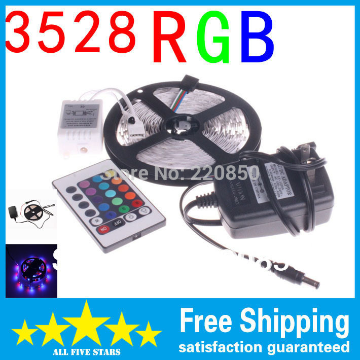 3528 RGB LED Strip Flexible Light Lamp 5M 300 Led SMD IR Remote Controller DC12V 2A Power Adapter Free Shipping Blue White(China (Mainland))