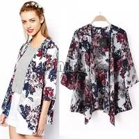 2014 Fashion Kimono Cardigan Women Summer Autumn LongSleeve Shirt European Style Chiffon Blouse Floral Print BlouseSV07 SV006090