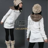 Womens Autumn Sweatshirts Hoodies Leopard Top Outerwear Parka Coats White/ Black Four Size free shipping  51