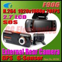 New F90G H.264 Full HD 1920x1080P 20FPS Dual Lens Dashboard Car vehicle Camera Video Recorder DVR CAM G-sensor/GPS/Rear Camera