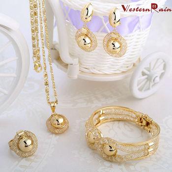 WesternRain Charming 2015 Lady Gold Plated Jewelry Elegant Fashion Bridal Wedding Dress Accessories Costume Jewelry Set