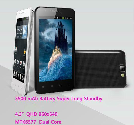 "3500mah ultra long standby original phone MIGO G9199 MTK6577 Android Smartphone 4.3"" IPS 960X540 GPS 3G WCDMA Russian innos d10(China (Mainland))"