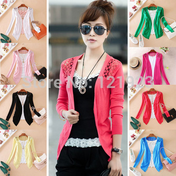 New 2014 Hot Sell Fashion Women Cardigan Sale Women Lace Sweet Candy Pure Color Slim Crochet Knit Blouse Sweater Cardigan QC0003