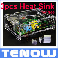 New Transparent Acrylic Raspberry Pi Case Enclosure,Add 3PCS Heat Sink as Free Gift