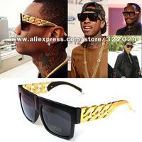 Kim kardashian Beyonce Celebrities Metal Gold Chain Oversized Shades Sunglasses Men/ Women Brand Sun glasses  Eyewear