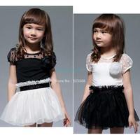 New Kids Toddlers Girls White Black Flower Princess Tutu Mini Dress 2 7yrs 20116