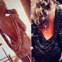 2014 Drop shipping Fashion major Halter sequin Elegant dress open back long sleeve backless bodycon party dress SV000925 #2