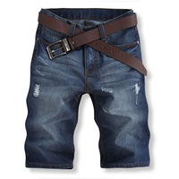 2014 new casual summer fashion men Italian famous brand denim shorts / short jeans men holey torn design jeans #7 SV003937