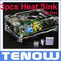 Transparent Acrylic Raspberry Pi Case Enclosure,Add 3PCS Heat Sink as Free Gift