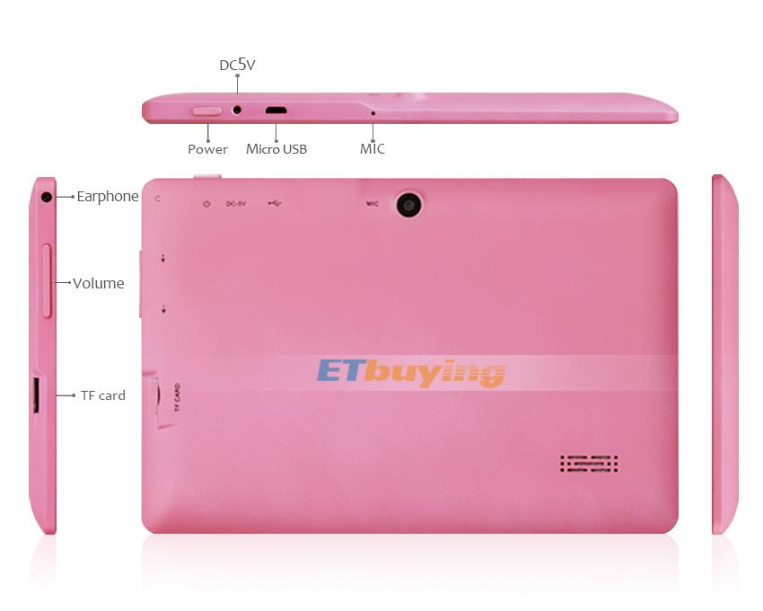 "7"" android 4.2 Tablet PC Q88 Allwinner A23 Dual Core 512M RAM 4GB Dual camera WIFI OTG"