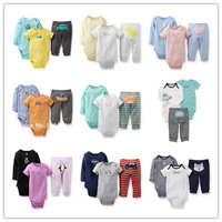 Retail, Original Carter's Baby Girls Boys 3-piece Bodysuit Pant Set, Baby Girls and Boys Spring & Autumn Clothes, Freeshipping