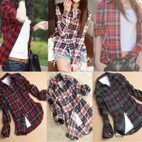 Wholesale 3pcs/lot New Arrival Women Casual Cotton Plaid Shirts Spring Outwear Women Loose Blouse SV001033 b008