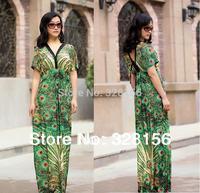 2014 Women Peacock Print Long/Maxi  Summer Casual Dress Plus size women dress L-6XL Free Shipping
