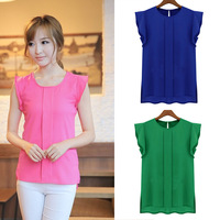 2014 Women Blouses Sleeveless Fashion  Chiffon Blouses Lady Crew Neck Flounced Sleeve After The Open Collar Chiffon Shirts J6233