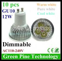 Free shipping 12 pcs CREE Dimmable 12W 9W GU10 MR16 E27 B22 E14 GU5.3 High Power LED Spotlight Downlight bulb lamp LED Light