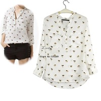 4pcs/Lot 2013 Fashion Womens Shirt Dogs Chiffon Shirt Collarless Loose Blouse Chiffon Animal Print Shirt Wholesale&Retail 13