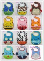 Free Shipping 5pcs/lot Mixed Sales Zoo Animal Baby Bibs Cartoon 13Design Waterproof Infant Bibs Baby Wear