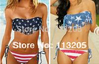 2013 Summer Lady Push-up Padded USA Bikinis BOHO American Flag Fringe Tassel Bandage Bathing Suits Swimwear Free Shipping