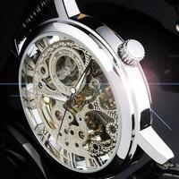 2014 New Famous Brand Winner Luxury Fashion Casual Stainless Steel Men Skeleton Mechanical Hand Wind Watch Dress Wristwatch