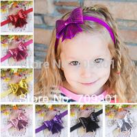 "3 "" sequin bow headbands hair bows headbands for children kids 12Colors 36Pcs/lot cheap price"