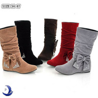 Fashion Women's Boots lovely Style Bow Rhinestone Mid Calf Faux suede wedges boots Flat heels women's shoes Big size 34-47 L42