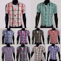 Free shipping New Designer Fashion Luxury Slim Fit Dress Men's Shirts 2013 16 Color Men Polo Shirt Plaid Short-sleeved Shirt5989