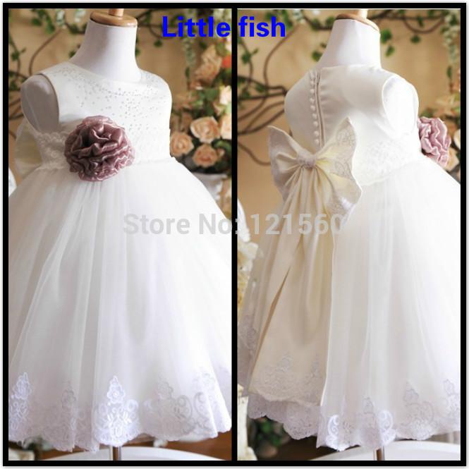 Free shipping White princess flower girls dress Dress party evening elegant 2-12 age(China (Mainland))