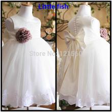 Envío libre princesa blanca de flores las niñas se visten vestido de fiesta de noche elegante 2-12 años(China (Mainland))