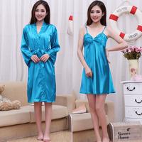 Summer sexy women's spaghetti strap nightgown sleepwear female silk bathrobe robe twinset short-sleeve lounge set