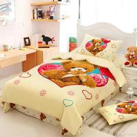 Cotton cartoon kids bedding sets Lovely bear bed linen for children girl boy(duvet cover pillowcase sheet)bed set bedclothes#C15