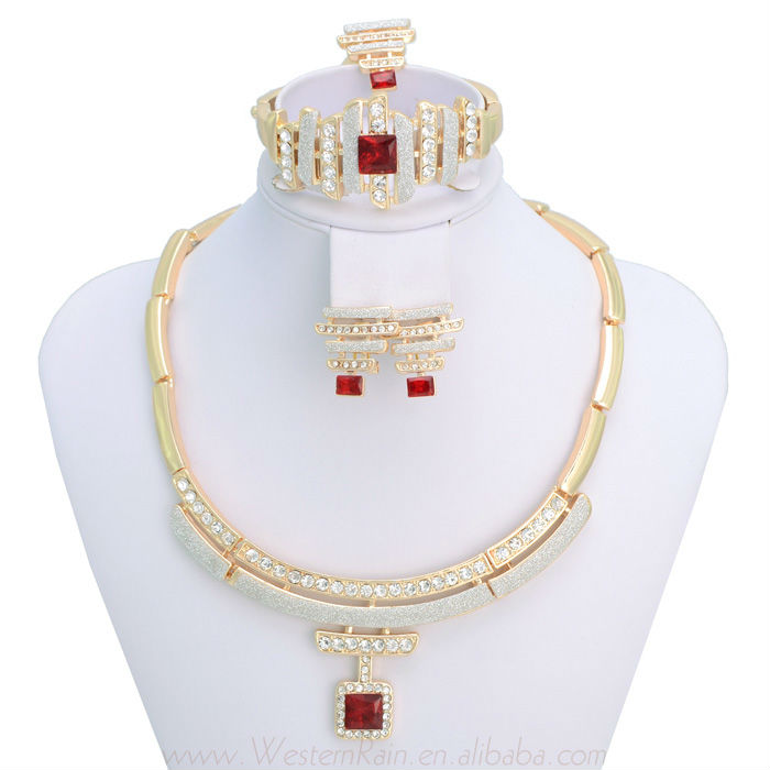 Luxury Charm Indian Jewelry Red/Green Imitation Gem Bangles Bracelet &Necklace &Ring &Earring Set Jewellery Sets , Free Shipping(China (Mainland))