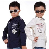 Turn-down Collar Children  All-match Boys Cotton Shirt Size 110-130 cm White / Blue Kids Casual Tops Free Shipping