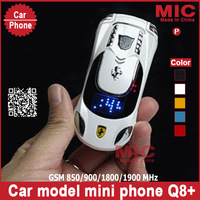 Russian keyboard Dual SIM Quad-bands Flip luxury small size mini sport supercar car model cell mobile phone cellphone Q8+ P11