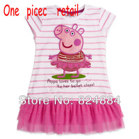 peppa pig girls clothing cute dress peppa pig clothes new dress onsie lace dress one piece dresses new fashion 2013 LU1#