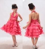 Retail new 2014 girls` summer Red /White /Light Green cake girl dresses kid ball princess dance dress girls 5--15 years