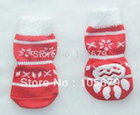 1 Set Christmas Fashion Dog Socks Pet Cat Red Socks 4 pcs/set Cotton Material Dog Pet Cat Shoes PS063