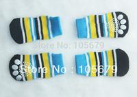 PS006 High Quality Fashion Dog Socks Pet Cat Stripe Blue Yellow Black White Knitting Socks Pet Products 1 set