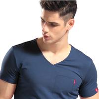 2014 Men's wear short-sleeved short  man short-sleeved's t-shirts Brand Pocket shirt V-NECK cotton t shirt for men tshirt famous