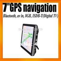 "South America Japan Digital TV 7""HD Car GPS Receiver 800X480+ISDB-T+Bluetooth+AV IN+FMT+8GB/128MB+Free Map"