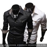 Freeshipping,Hot Sale,2013 Fashion Brand Slim Fit Long Sleeve Casual Shirts Men.Casual Dress Shirts,Novelty Leopard Print Collar